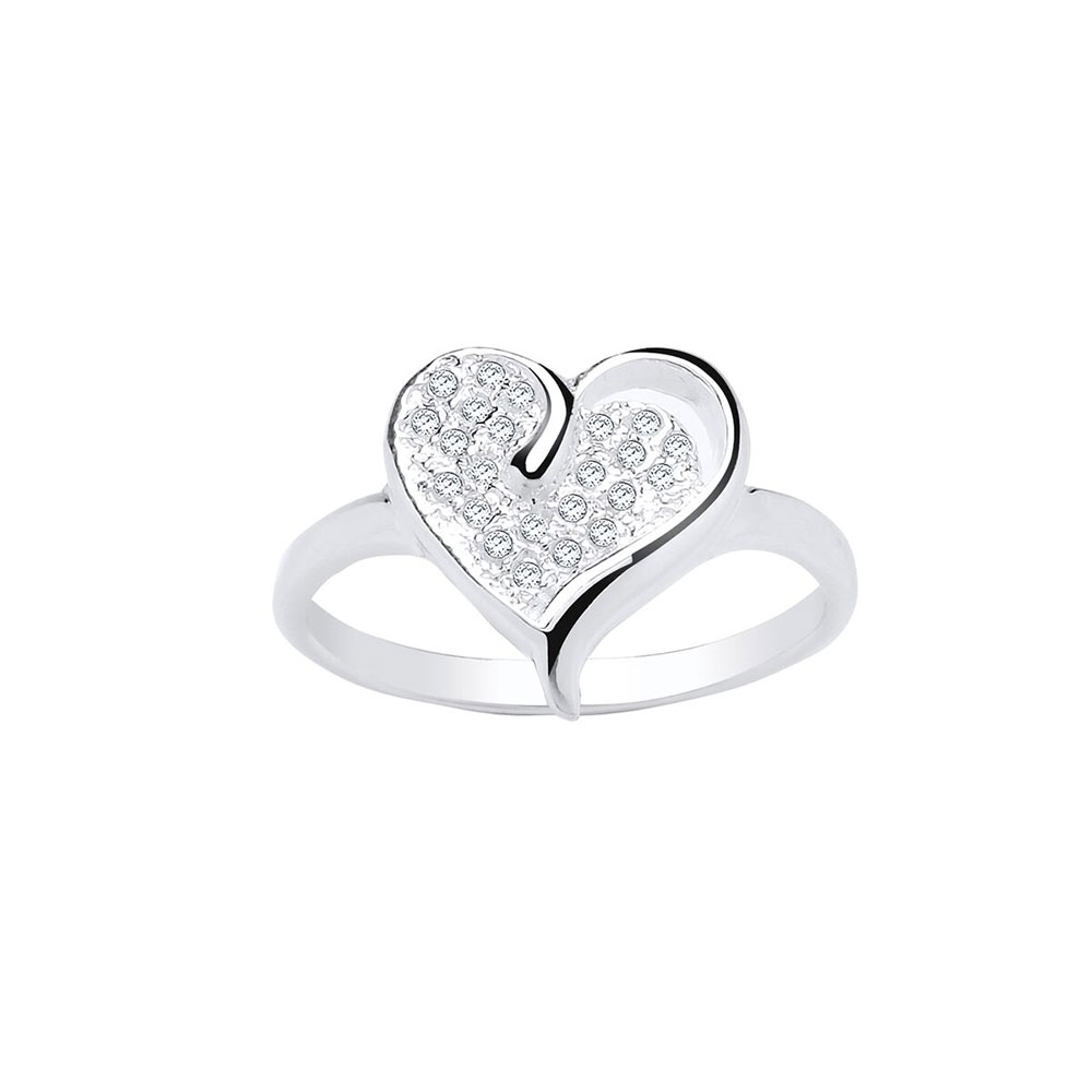 925 Sterling Silver and CZ 14mm Heart Dress Ring