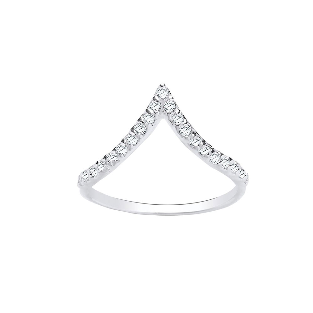 925 Sterling Silver and CZ Wishbone 10mm Dress Ring