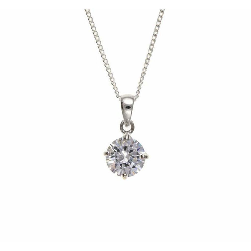Sterling Silver Cubic Zirconia Round Drop Pendant  UK Made and 925 Stamped