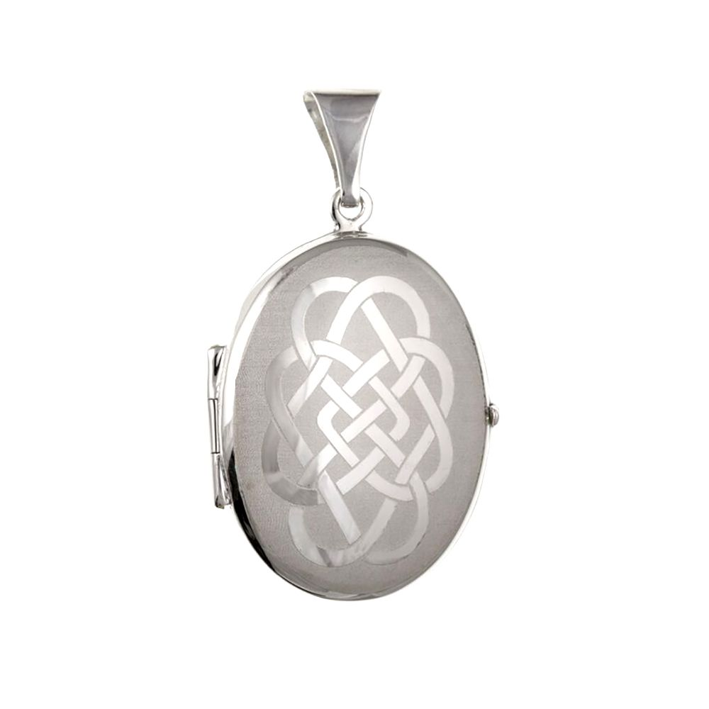 925 Sterling Silver Large Celtic Patterned Locket