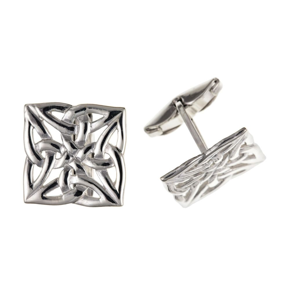 925 Sterling Silver Square Celtic Cufflinks UK Made and 925 Hallmarked
