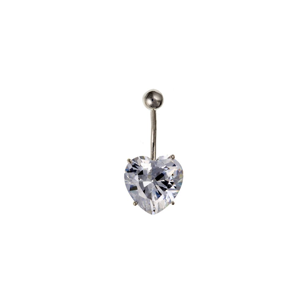 12mm Heart CZ And Sterling Silver Belly Bar