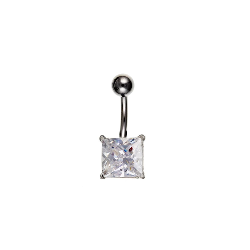 10mm Square CZ And Sterling Silver Belly Bar