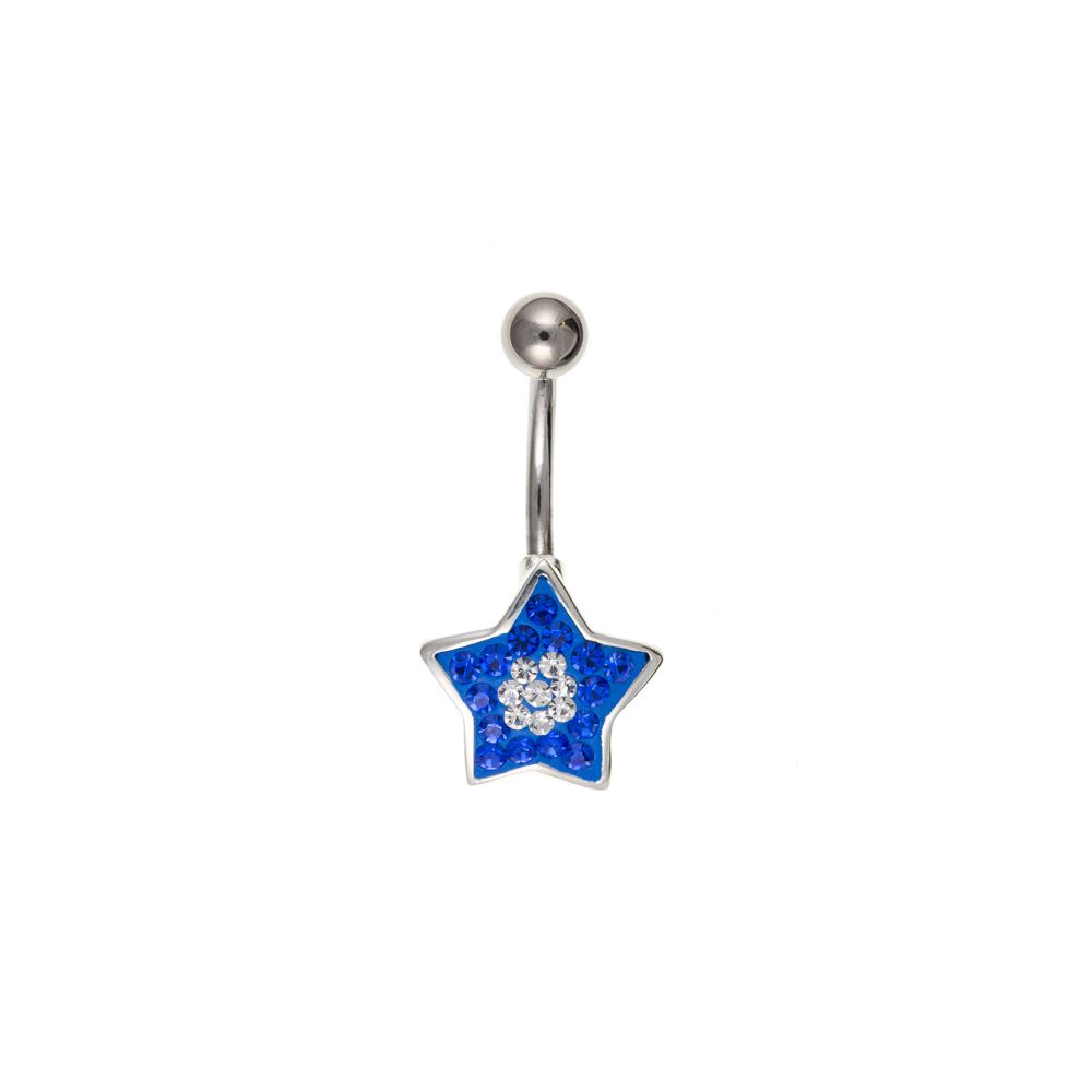 13mm Blue Crystal Star Steel Belly Bar