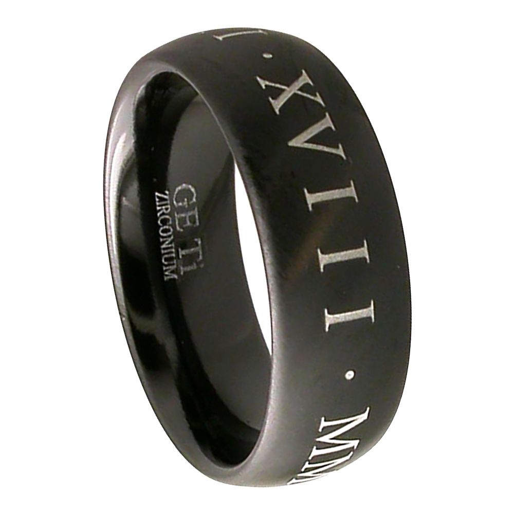 Black Zirconium Court Ring With Roman Date Letters
