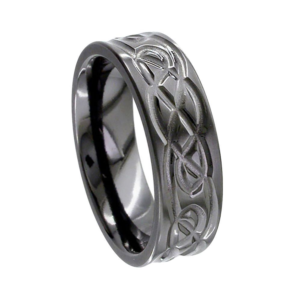 Black Zirconium Celtic Flat Court Comfort Wedding Ring