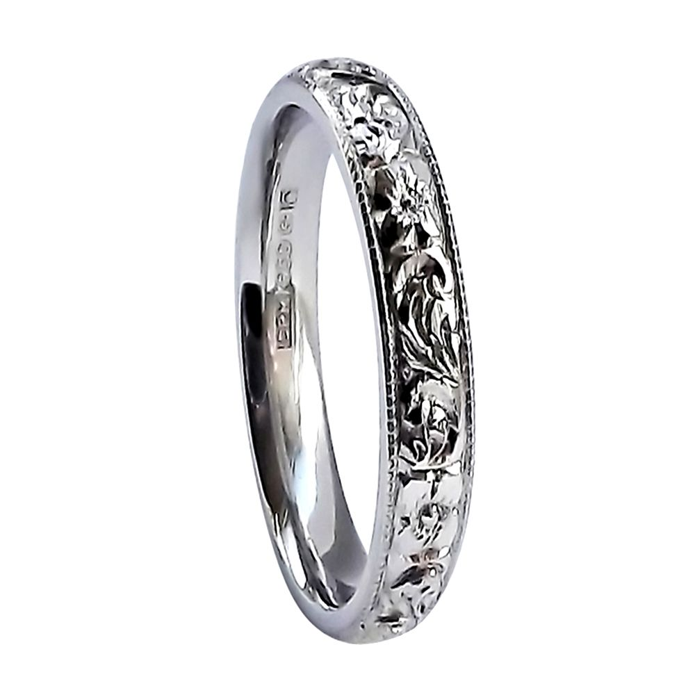 SALE 3mm Vintage Hand Engraved Court Wedding Band With Orange Blossom Design 9ct White Gold At Size Q.5
