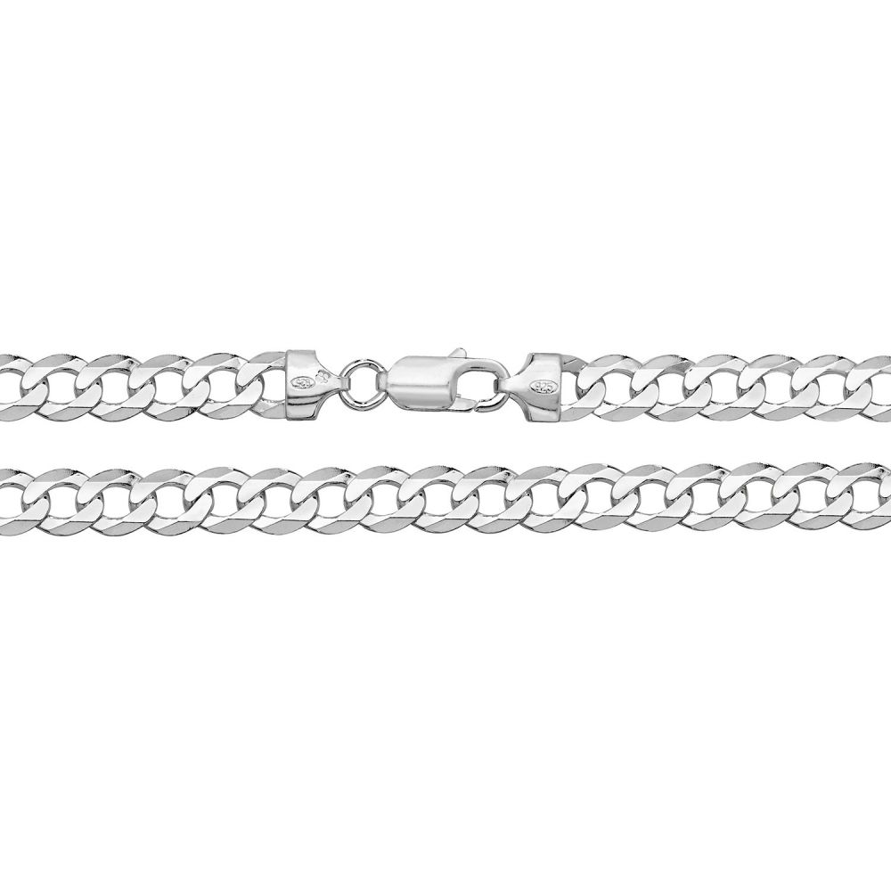 925 Solid Sterling Silver Men's 9mm Heavy Curb Chain
