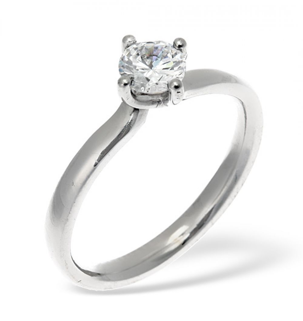 18ct White Gold 0.50ct G/SI1 Diamond Solitaire Ring