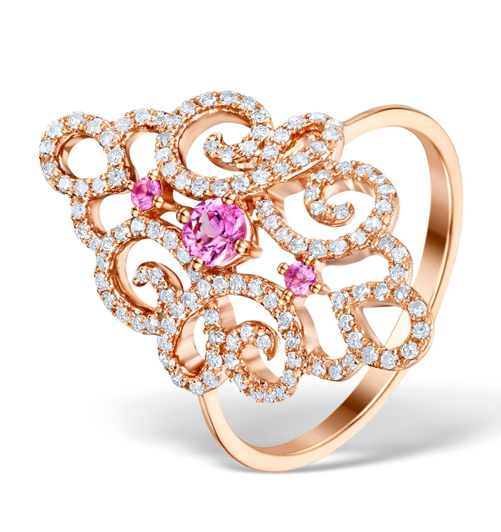 9ct Rose Gold 0.42ct Diamond & Pink Sapphire Cluster Ring