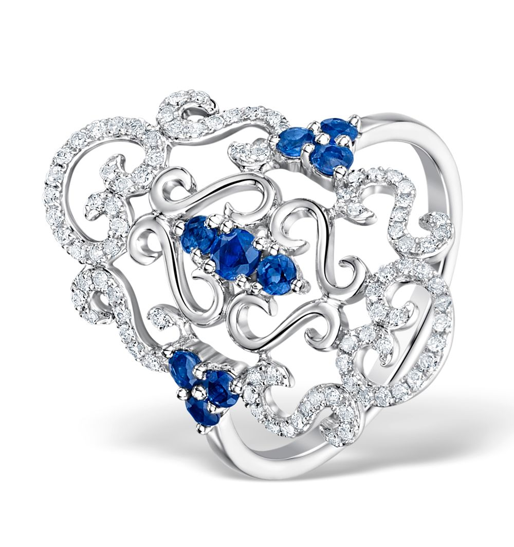 9ct White Gold 0.31cts Diamond & 0.50cts Sapphire Cluster Ring
