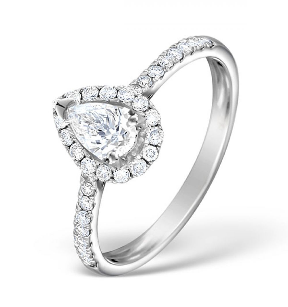 18ct White Gold 0.81ct Shoulder Set Diamond Solitaire Ring