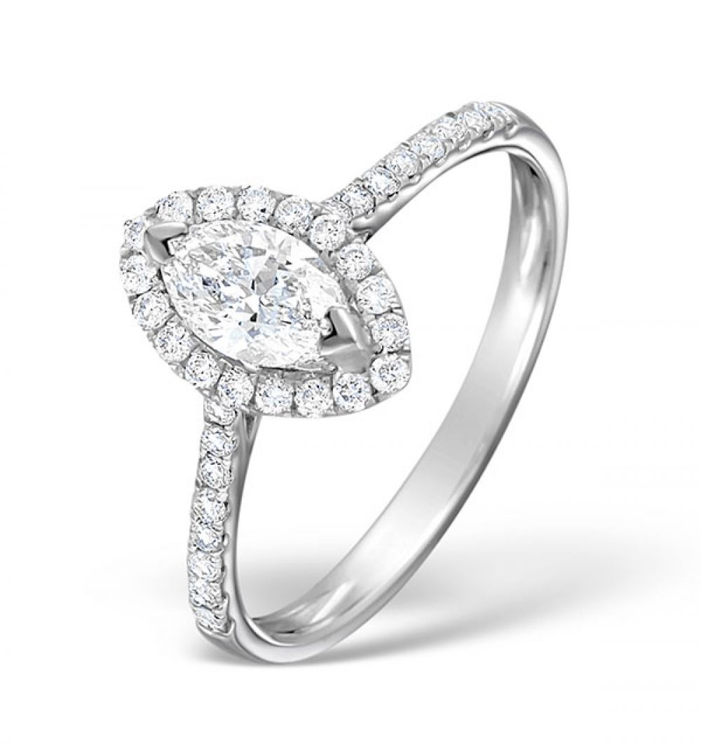 18ct White Gold 0.86ct Shoulder Set Diamond Solitaire Ring