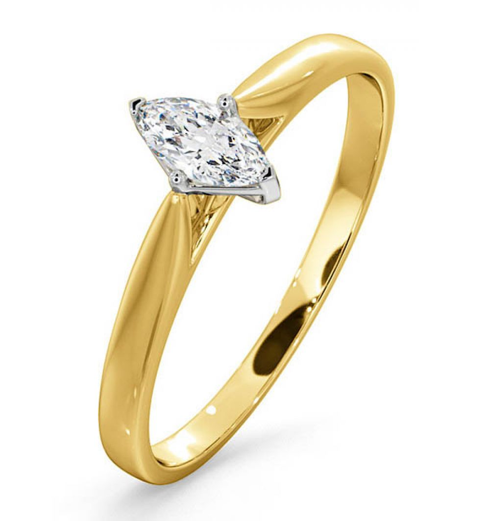 Certified Marquise 18K Yellow Gold Diamond Engagement Ring 0.25ct-F-G/VS