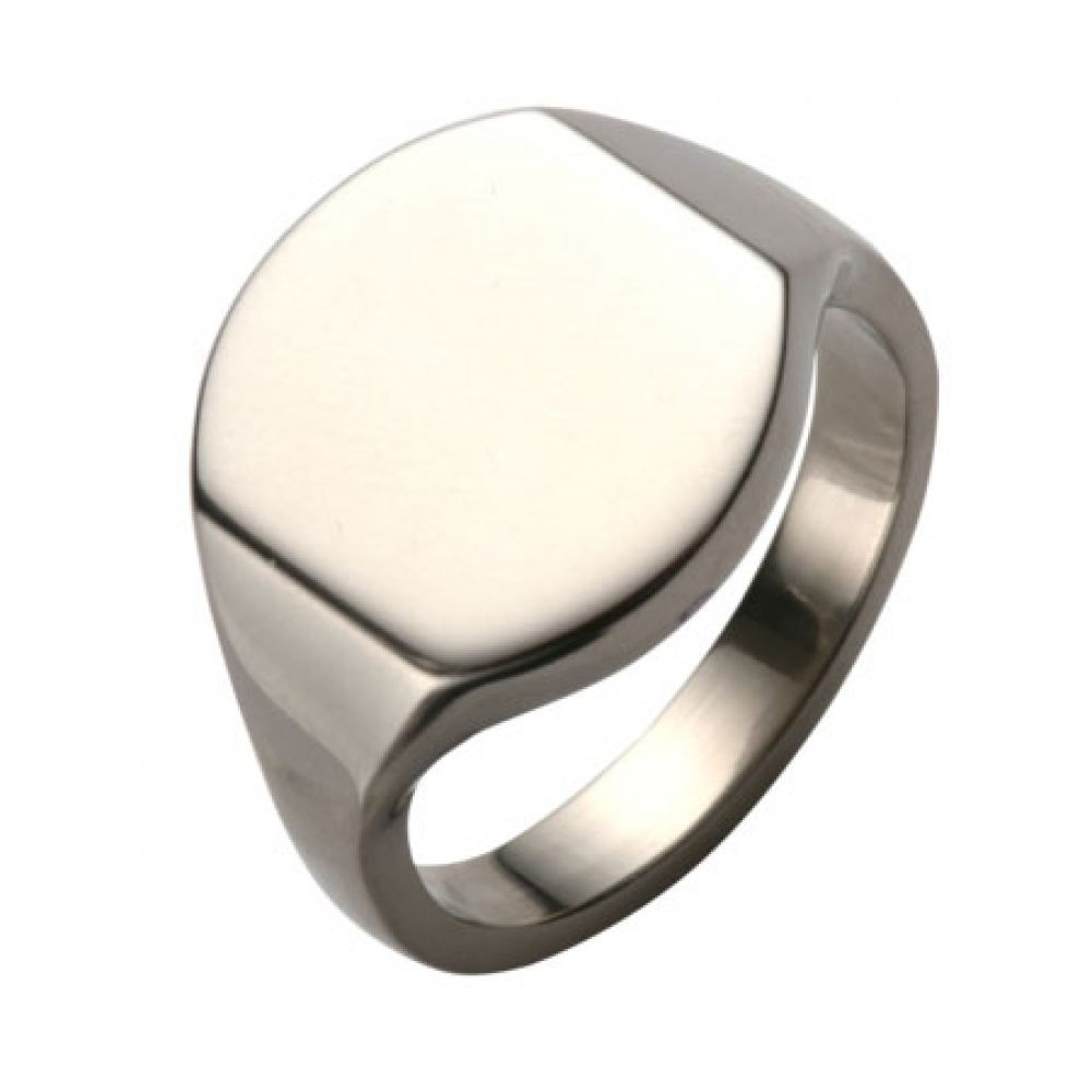 Titanium Bespoke Oval Or Cushion Shaped Signet Ring