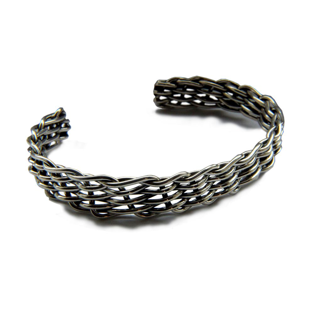 12mm Men's Heavy Genuine Mexican Solid Silver Round Weave Design Torque Bracelet 925 UK Hallmarked