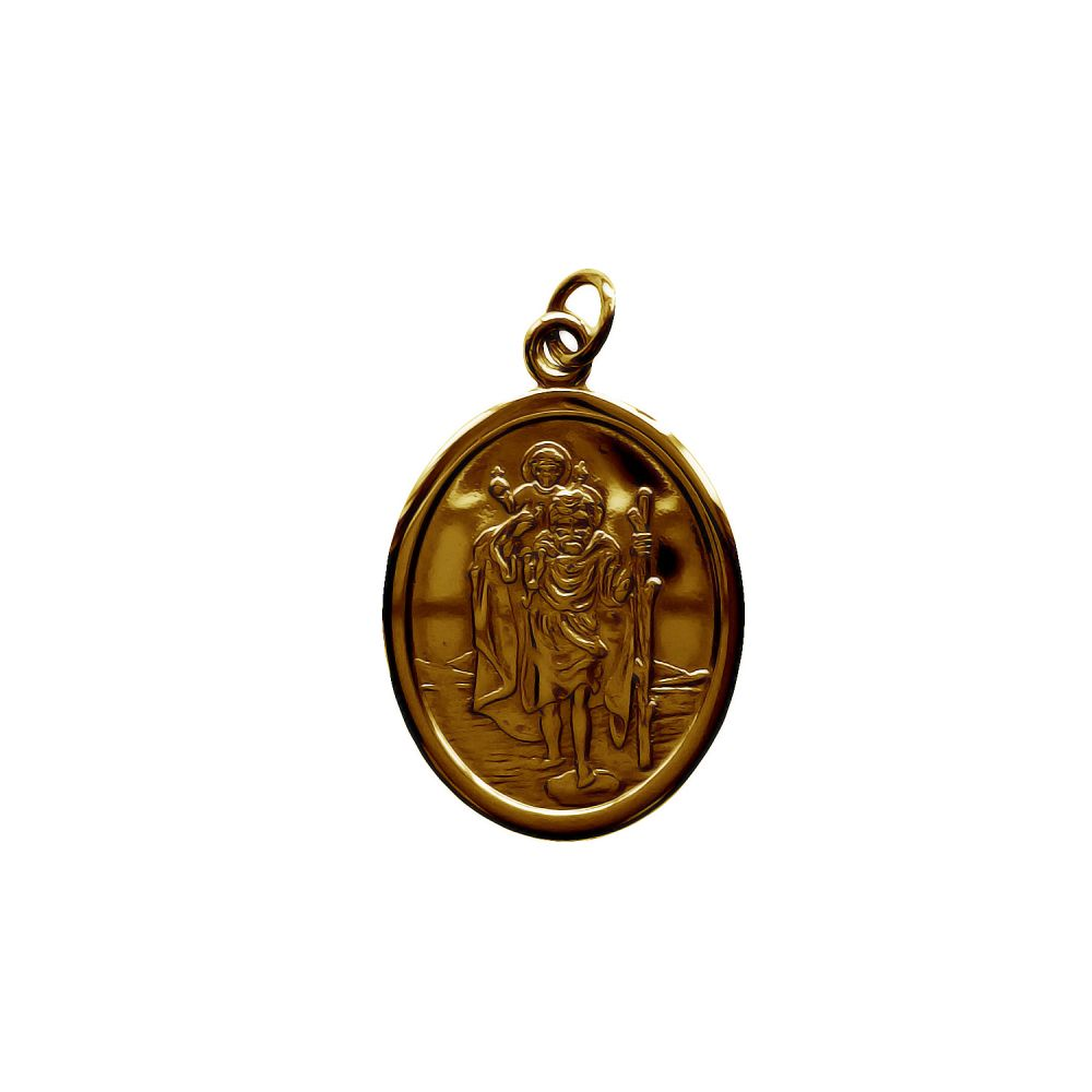 9ct Yellow Gold Oval St Christopher Pendant 2.5g