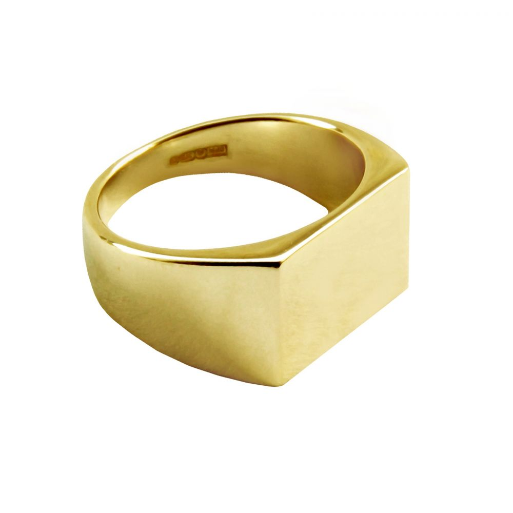 9ct Yellow Gold Initial Signet Rings 14 x 7mm