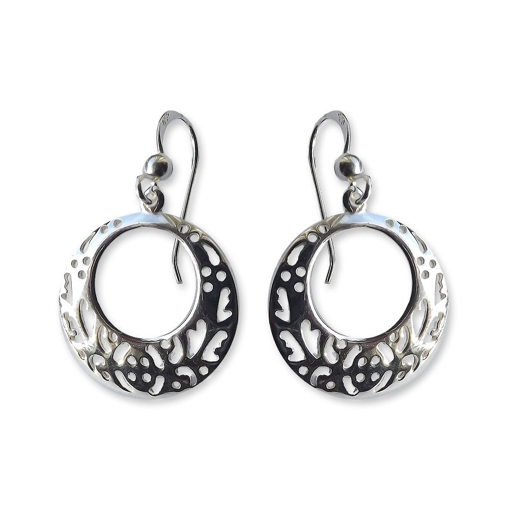 925 Sterling Silver Filigree Round Drop Earring UK Made