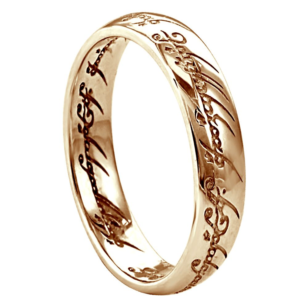 4mm 9ct Rose Gold Lord Of The Rings Heavy Court Comfort Wedding Rings Bands