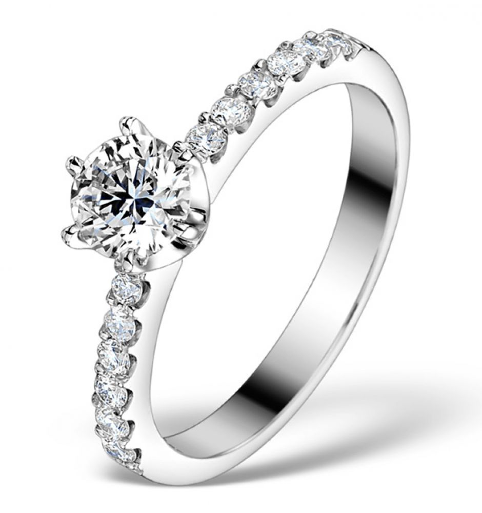 Shoulder Set Engagement Ring 0.85ct G/SI1 Diamonds 18ct White Gold