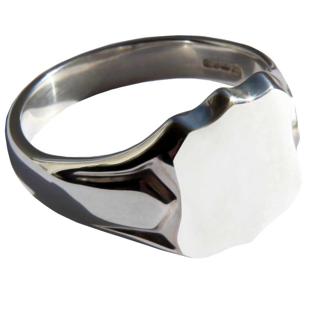 925 Sterling Silver Shield Shaped Signet Rings 14 x 12mm 8.4g