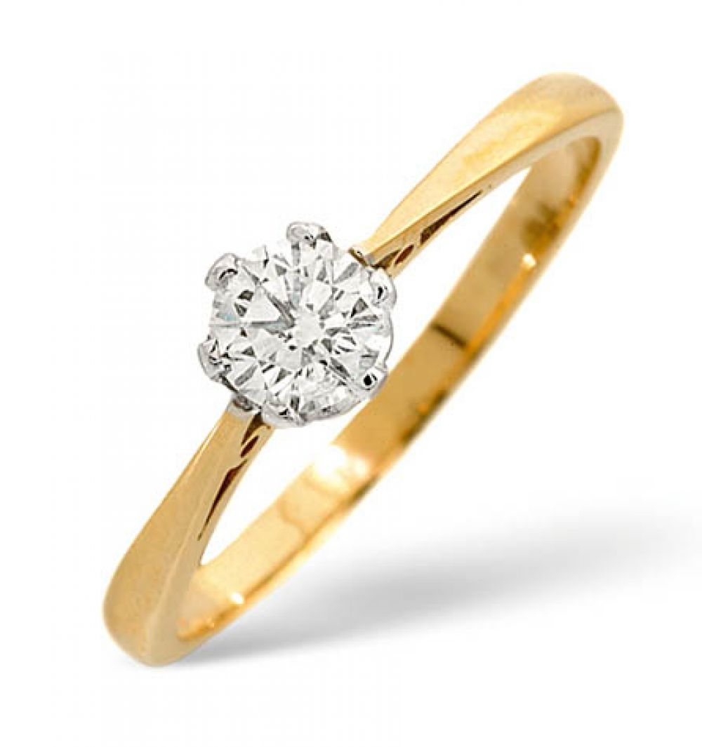 9ct Gold Single Stone Set Diamond Engagement Ring 0.35ct