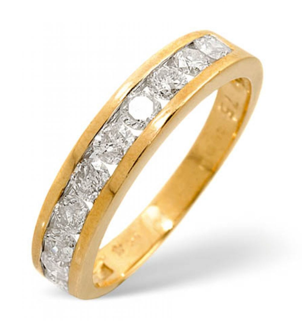 9ct 0.75ct Gold Half Eternity Diamond Ring