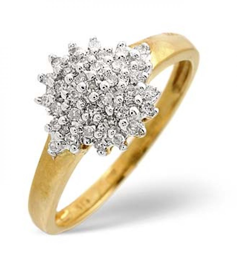 9ct Yellow Gold 0.20ct Cluster Diamond Ring