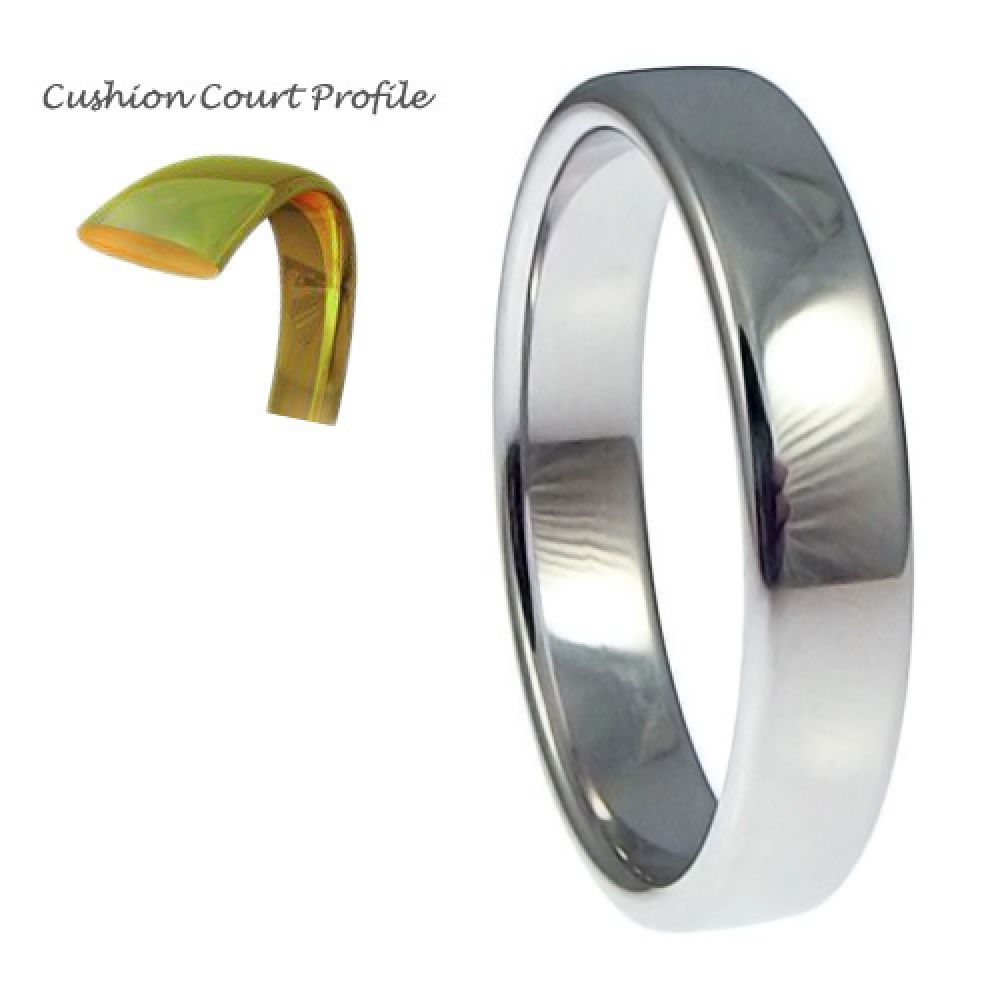 4mm 9ct White Gold Heavy Cushion Court Comfort Wedding Rings Bands
