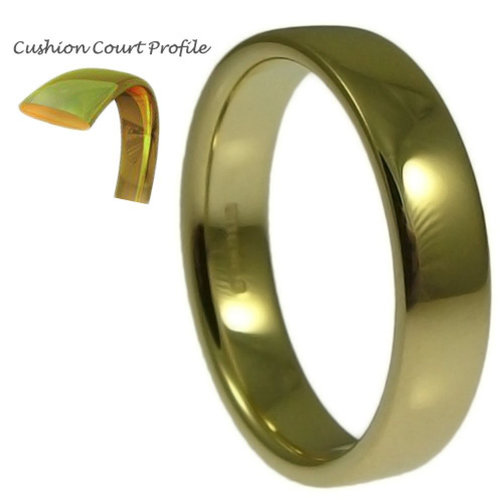 5mm 9ct Yellow Gold Heavy Cushion Court Comfort Wedding Rings Bands