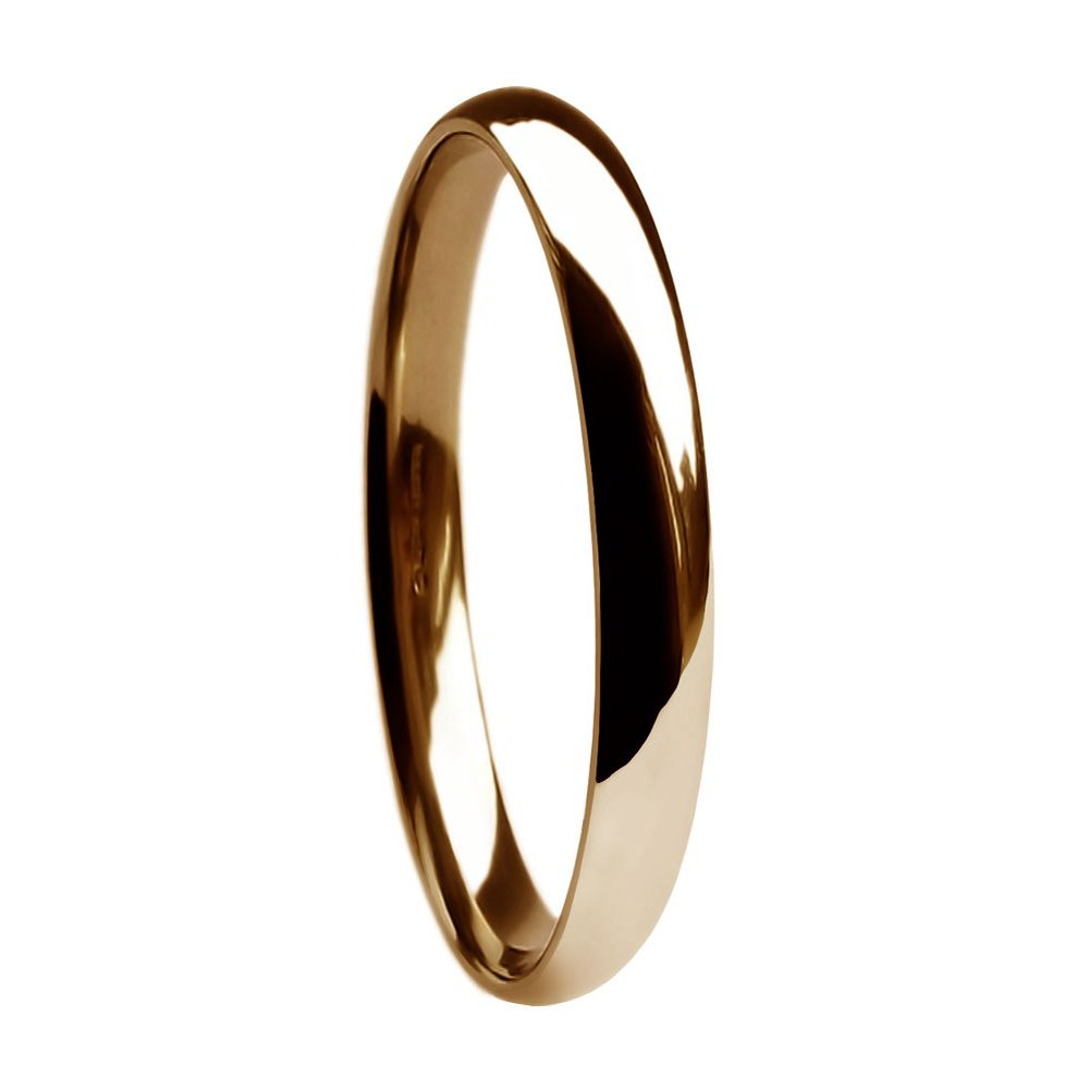 2mm 9ct Red Gold Heavy Court Comfort Wedding Rings Bands