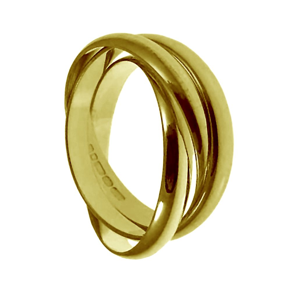 3mm 18ct Yellow Gold D-Shape Russian Wedding Band
