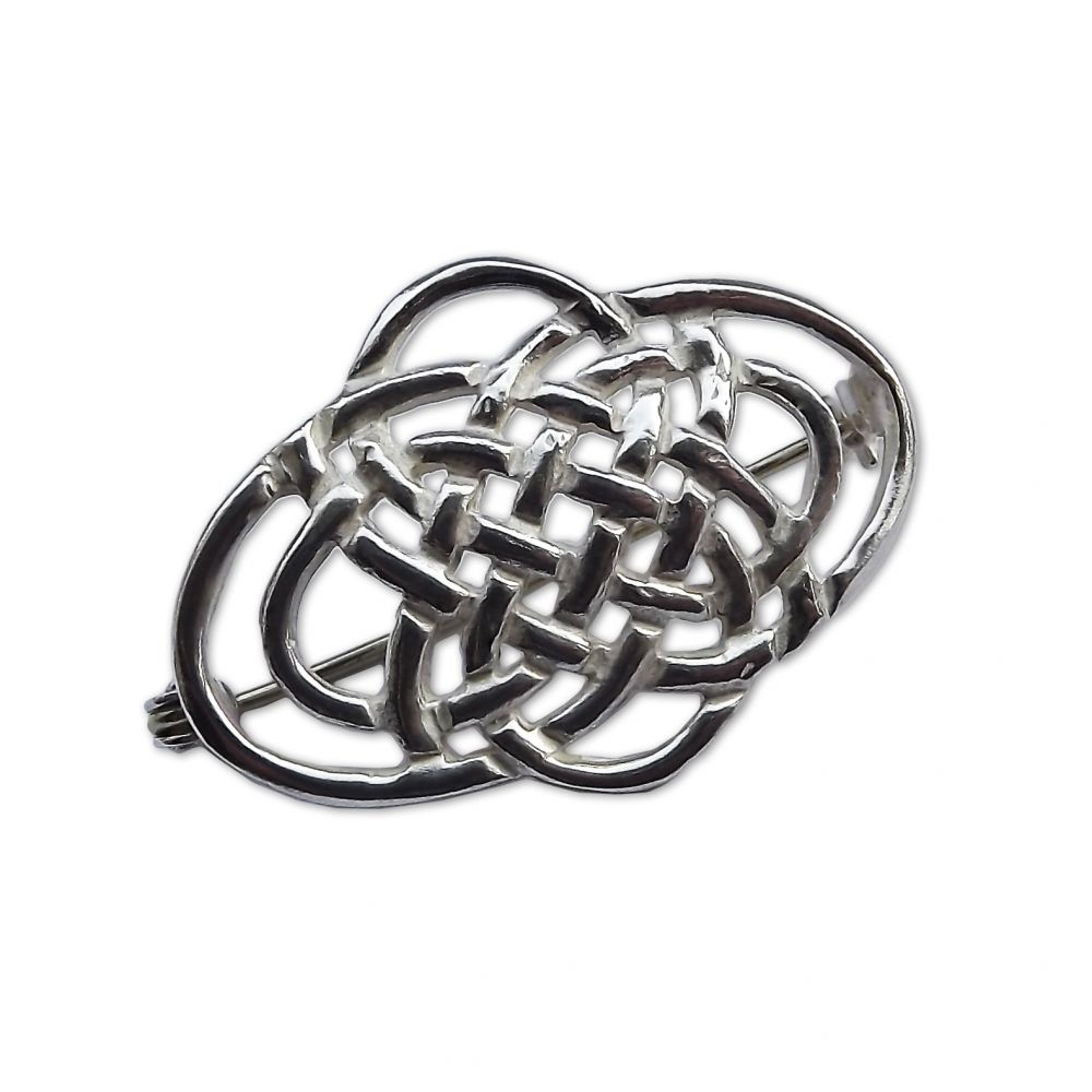 925 Sterling Silver Celtic Brooch 34 x 22 x 8mm