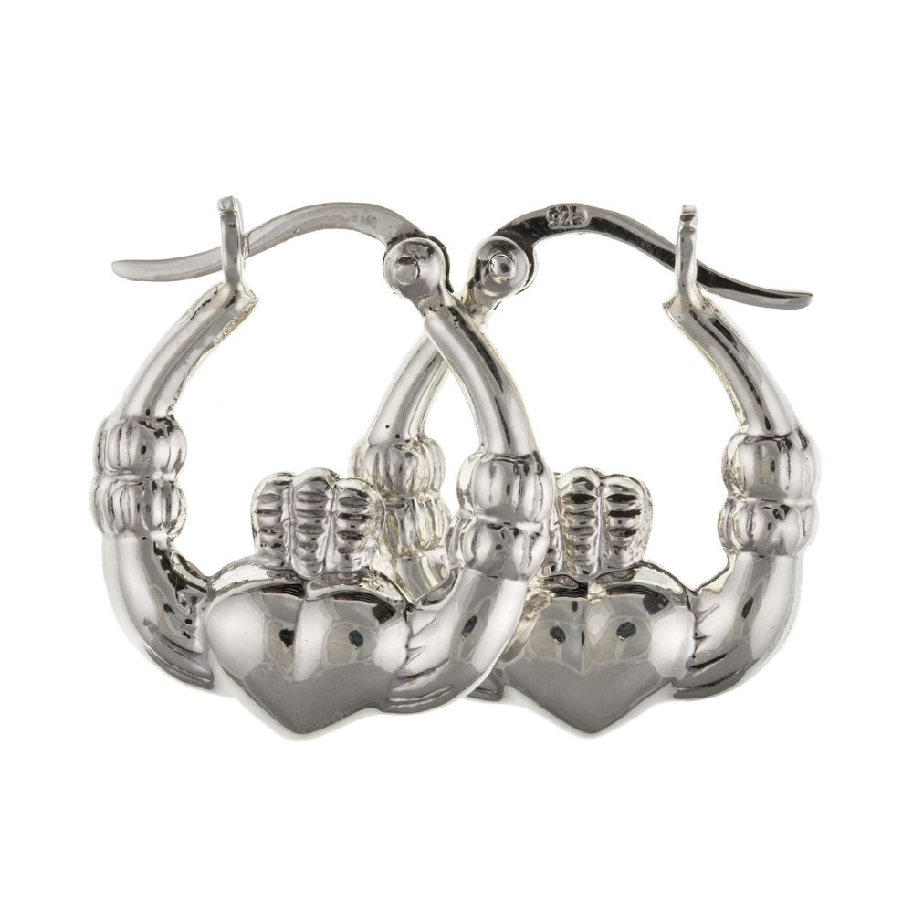 925 Sterling Silver Claddagh Style Creole Earrings With Lever Catches