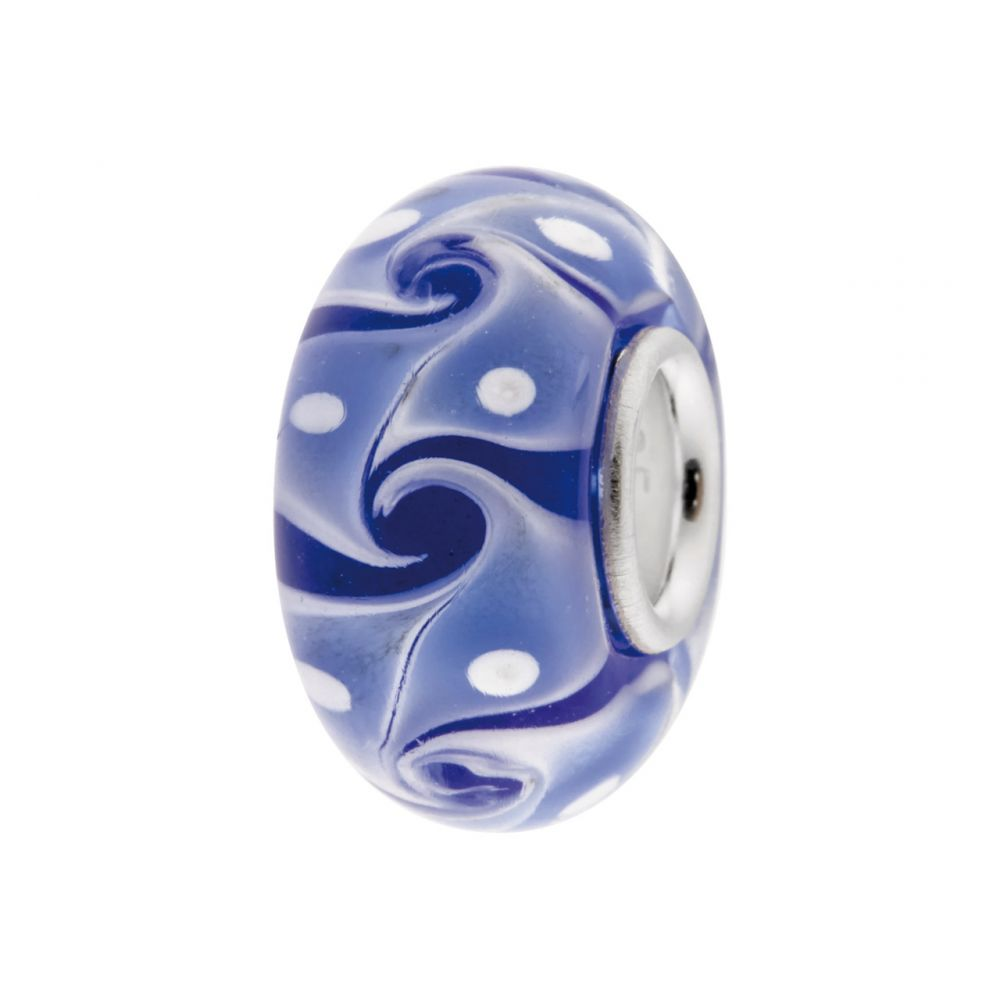 Glass Charm Bead, Blue With Blue And White Abstract Pattern, Sterling Silver Core