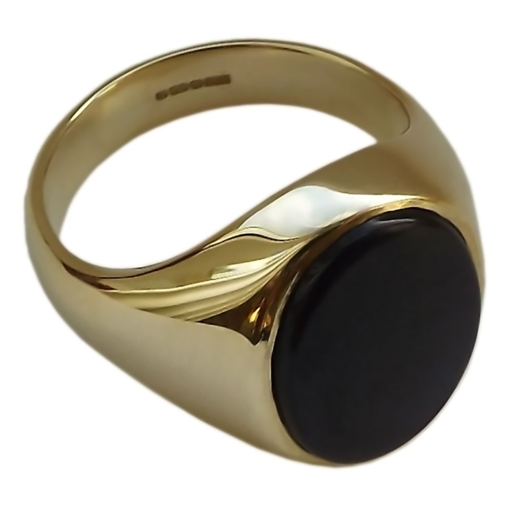 9ct Yellow Gold Onyx Set Signet Rings 14 x 12mm 6.4g