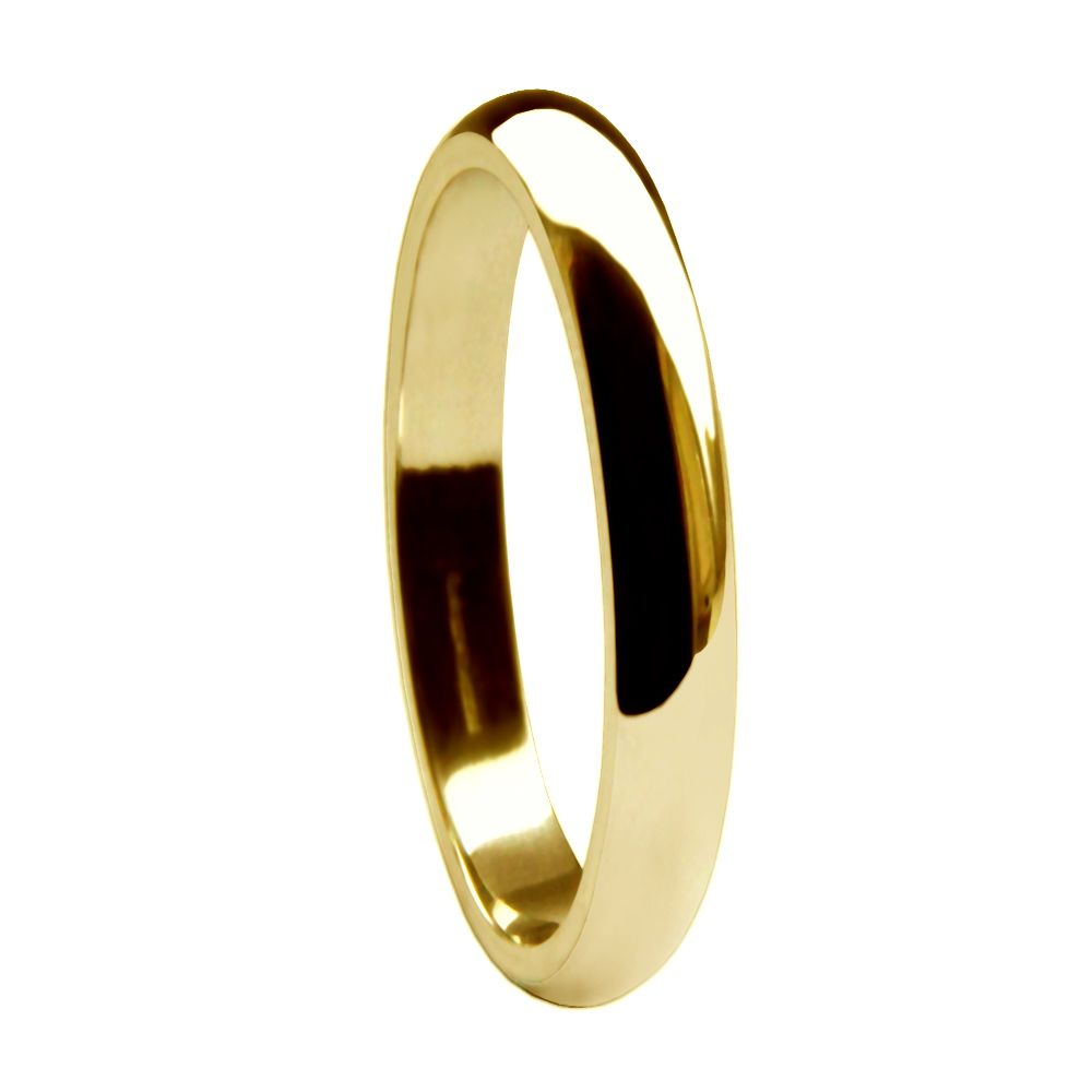 2mm 9ct Yellow Gold Heavy D Shaped Wedding Rings Bands