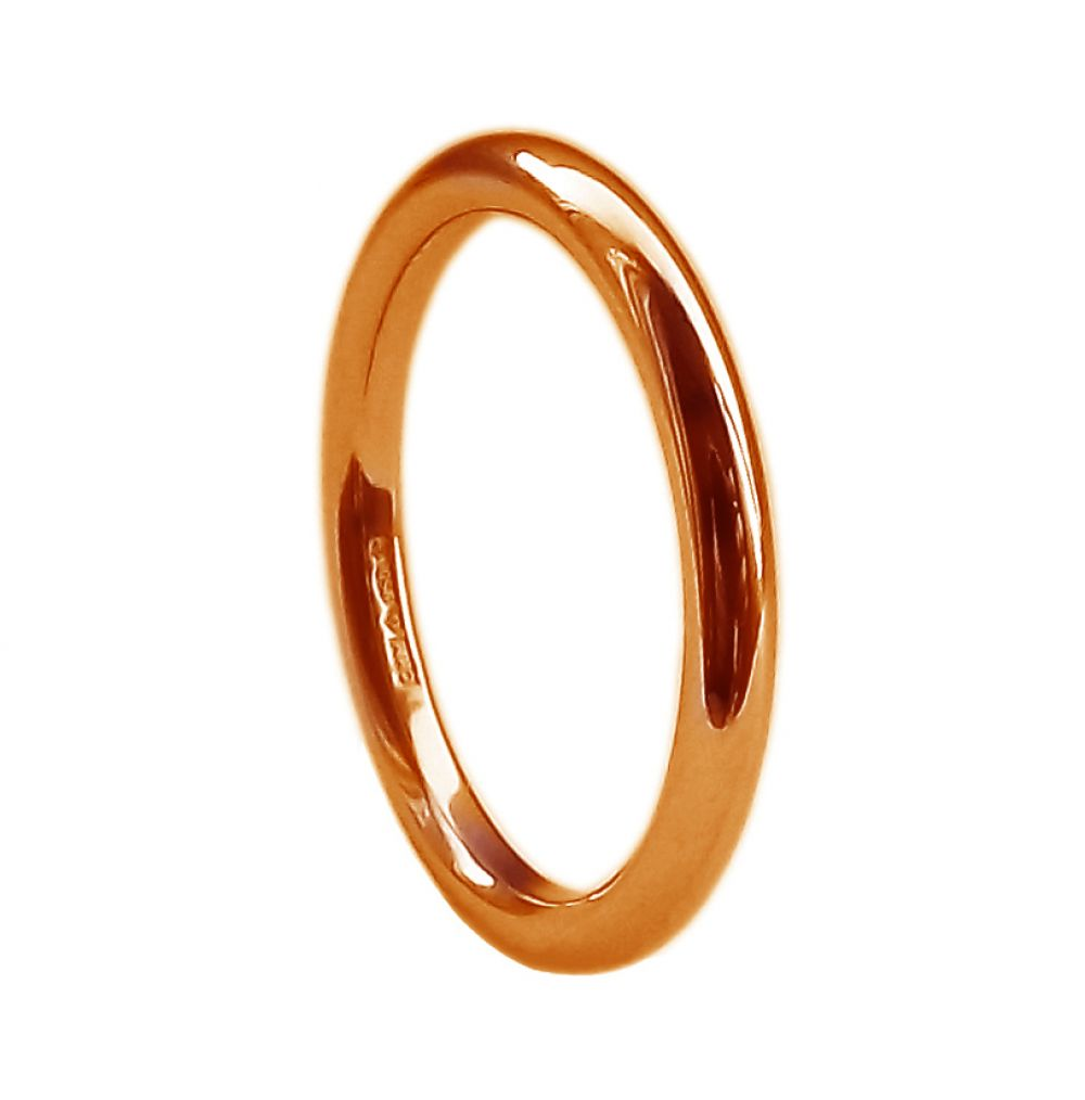 2mm 9ct Red Gold Halo Wedding Rings Bands