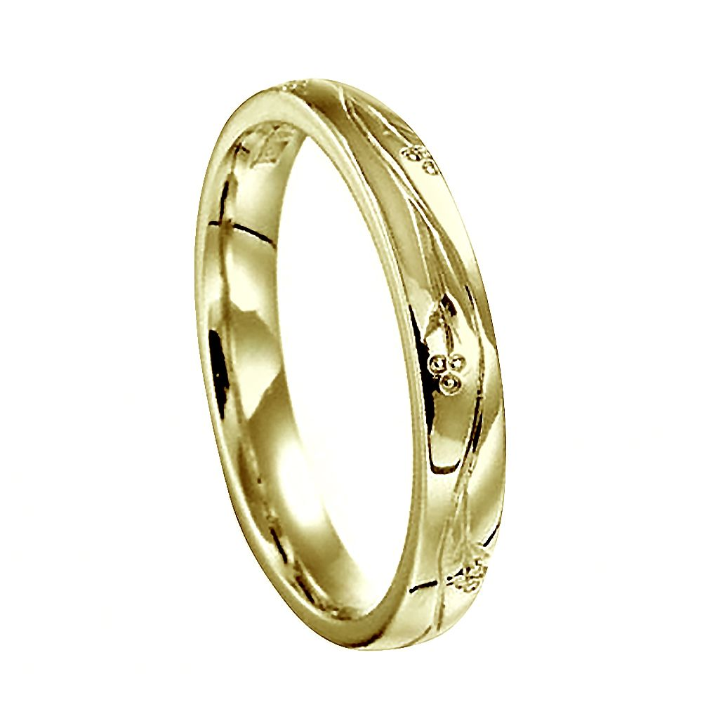 3mm Vintage Hand Engraved Court Wedding Band With Flowers Design 9ct Yellow Gold