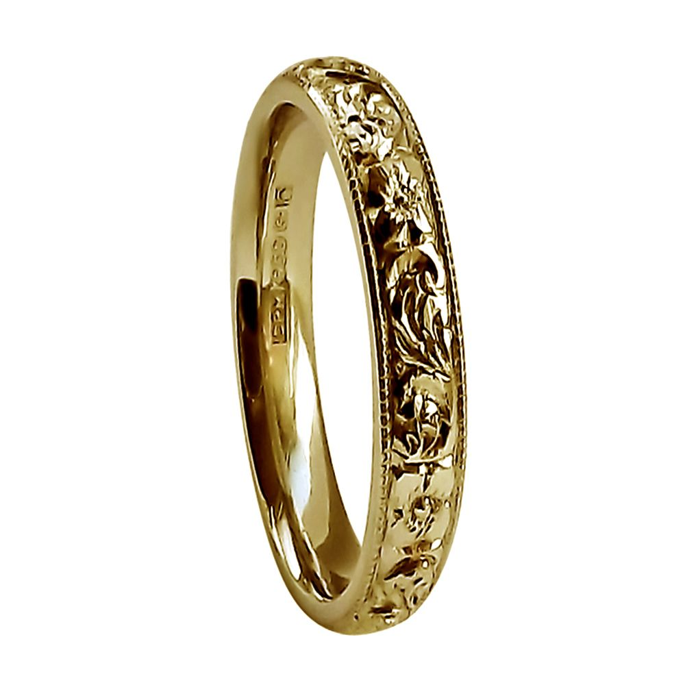 3mm Vintage Hand Engraved Court Wedding Band With Flower & Scroll Design 9ct Yellow Gold