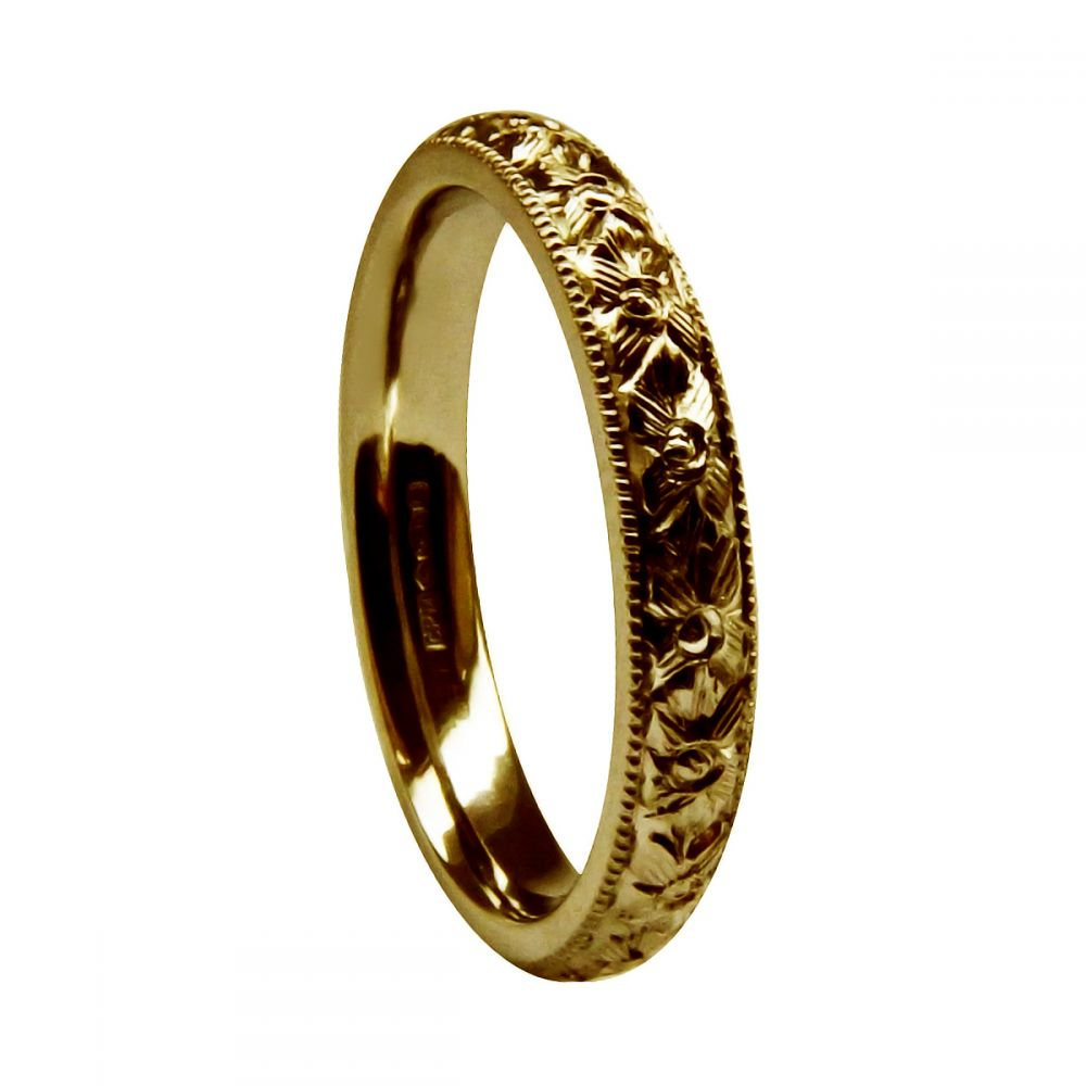 3mm Vintage Hand Engraved Court Wedding Band With Orange Blossom Design 9ct Yellow Gold