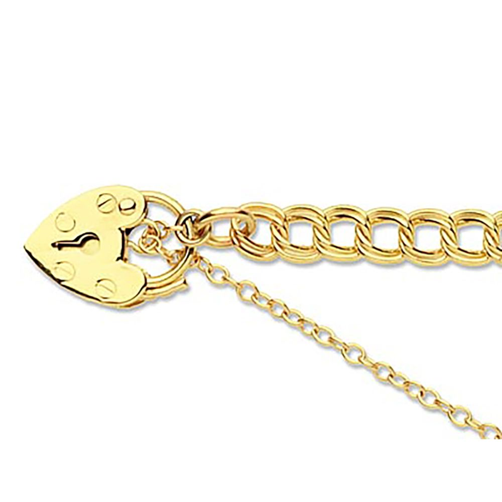 "9ct Yellow Double Curb 7.5""/19cm Padlock & Safety Chain Hallmarked 11mm Padlock"
