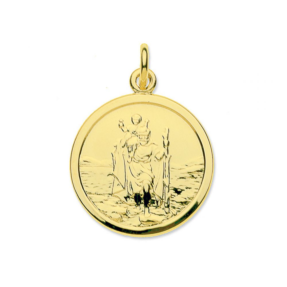 9ct Yellow Gold Medium Round St Christopher Pendant & Optional Chain