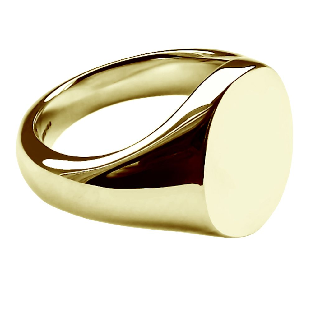 SALE 9ct Yellow Gold Oval Signet Rings 16 x 13 x 2.8mm Size V