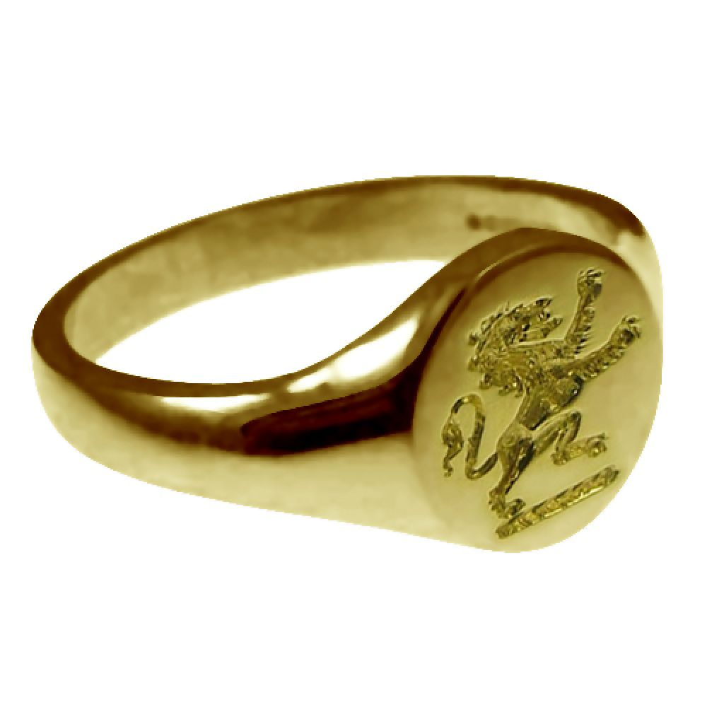 9ct Yellow Gold 11mm Round Family Crest Signet Rings