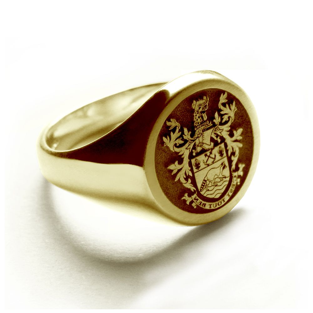 9ct Yellow Gold 11mm Round Laser Engraved Family Crest Signet Rings 6.7g