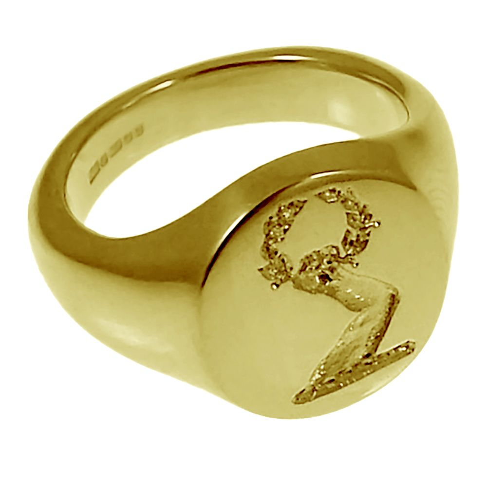 18ct Yellow Gold 13mm Round Family Crest Signet Rings 7.6g