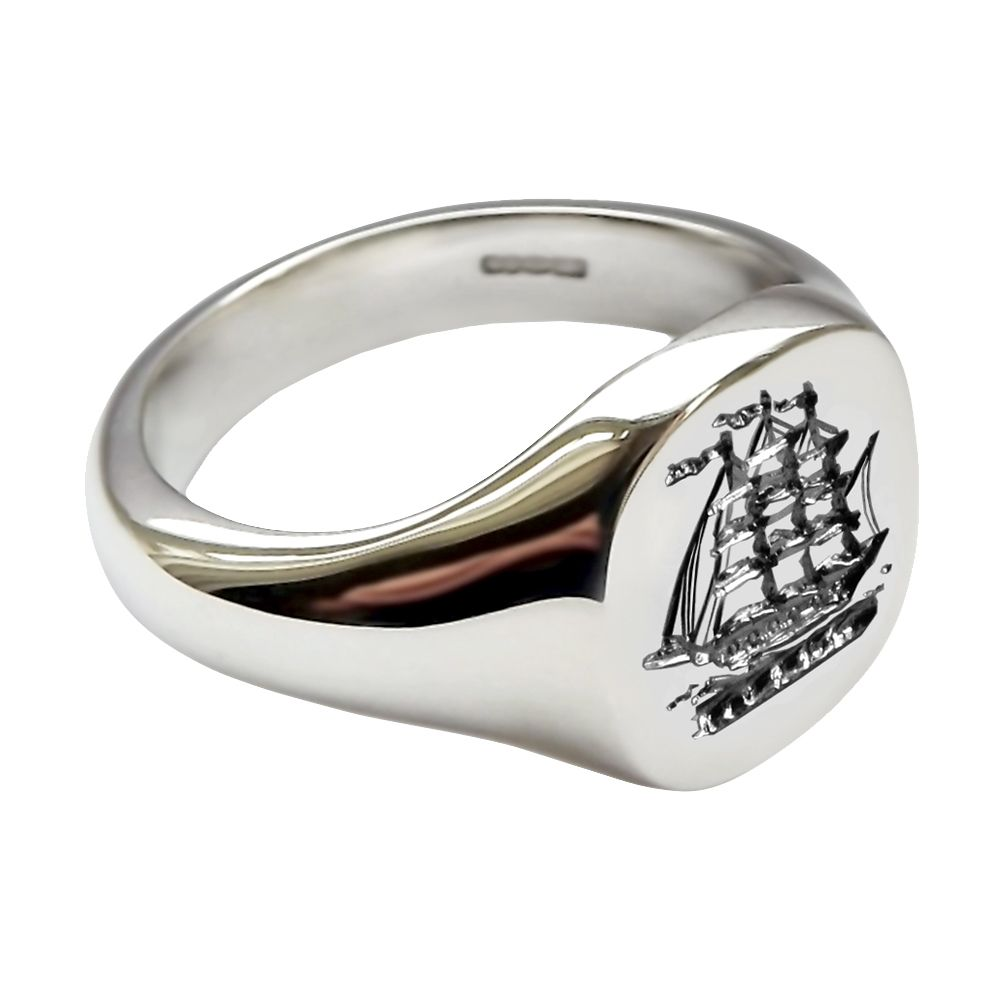 925 Sterling Silver 14 x 13mm Stamped Cushion Shaped Family Crest Signet Ring