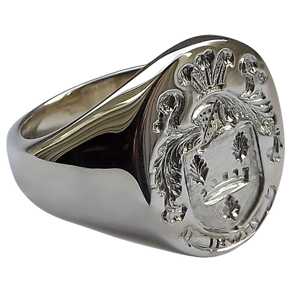 925 Sterling Silver Men's Large Oval Family Crest Signet Rings 20x16mm